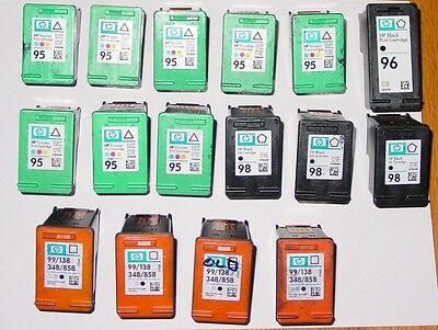 Mixed Lot of 16 Genuine HP 95 96 98 99 used Empty Virgin Ink Cartridges