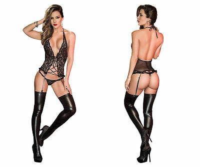 Lingerie: Mapale 8171 Two Piece Lingerie Set with Garters