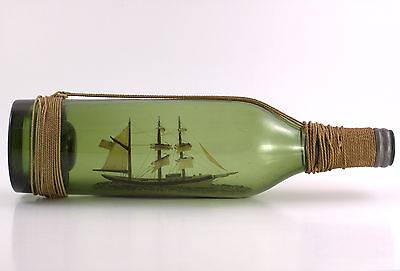 Antique American Ship in an Absinthe Bottle with Rigging and Knots C. 1890-1910s