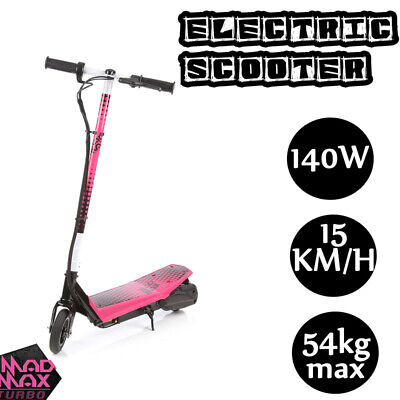 Mad Max Electric Scooter Ride On Kids 140W 12V Battery Pocket Bike Pink Girls To