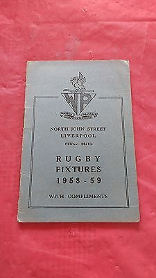 Liverpool District 1958-59 Rugby Fixture Card, Waterloo, Liverpool & Other Clubs