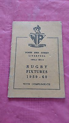 Liverpool District 1959-60 Rugby Fixture Card, Waterloo, Liverpool & Other Clubs