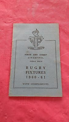 Liverpool District 1960-61 Rugby Fixture Card, Waterloo, Liverpool & Other Clubs