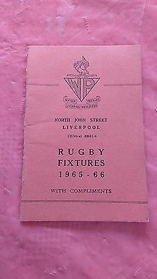 Liverpool District 1965-66 Rugby Fixture Card, Waterloo, Liverpool & Other Clubs