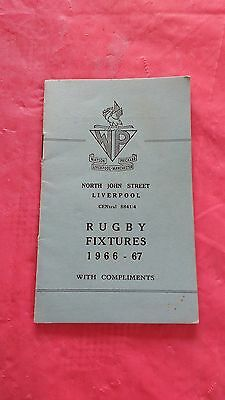 Liverpool District 1966-67 Rugby Fixture Card, Waterloo, Liverpool & Other Clubs