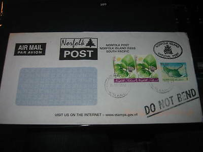 Norfolk Island :- Official post used large window envelope surcharged (73W)