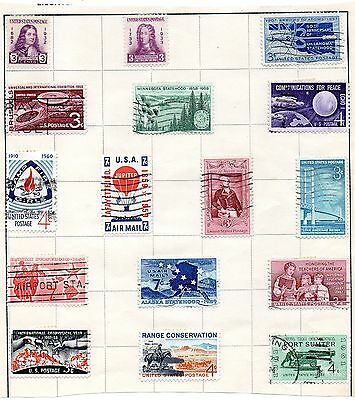 Page of Stamps of the USA from Stamp Album