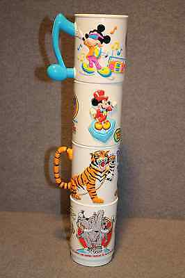 Vintage Set Of 4 3-D Cups Ringling Bros & Walt Disney World On Ice Combined Show