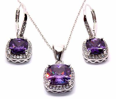 Sterling Silver Amethyst And Diamond 8.46ct Cluster Necklace Set (925)