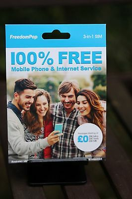 FREE FOREVER Freedompop 200min+200SMS+210MB in UK under THREE network nanoSIM