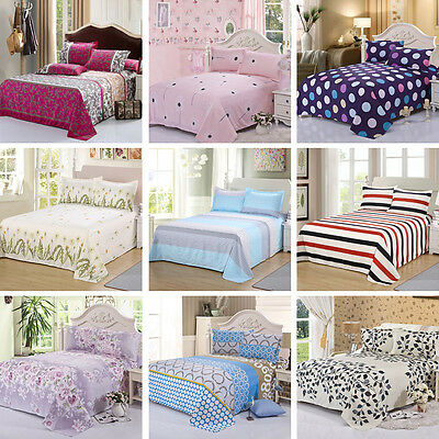Comfort Cotton Bed Sheets Set+2 Pillowcases Bedding Home Coverlet Floral 24color
