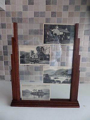 GENUINE ART DECO SOLID OAK STEP DESIGN PHOTO FRAME WITH GLASS- LGE SIZE 14 x 10""