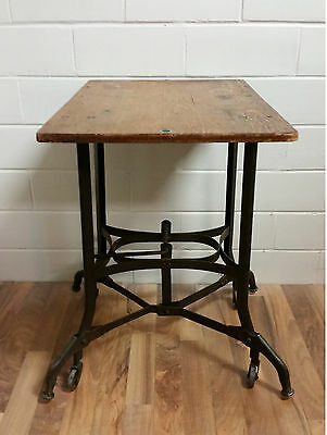 Vintage Metal Industrial Rolling Typing Stand Table Steampunk Rustic  Primitive