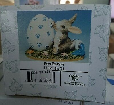Charming Tails Fitz Floyd Paint-By-Paws Easter Egg Bunny Figurine 88/701