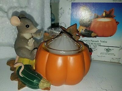 CHARMING TAILS MOUSE CANDLEHOLDER RARE  PUMPKIN 93/101 SITTING Fitz and Floyd