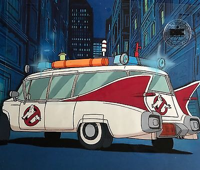 Real Ghostbusters ECTO-1 Original Animation Production Art Cel DIC SEAL