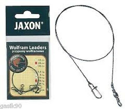 2X Wolfram Leader Jaxon Tungsten Braid With Swivel And Snap Quick Clip Mix Sizes