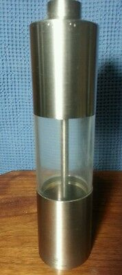 """PEUGEOT France Stainless Steel & Acrylic Salt Mill ~ 7½"""" Tall Modern Classic"""