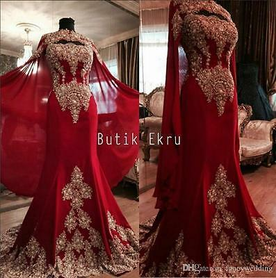 Arabic Red Lace Dubai India Wedding Evening Dress Tulle Celebrity Prom Gown
