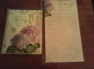 Setof 6 notecards and matching list pad - inspirational