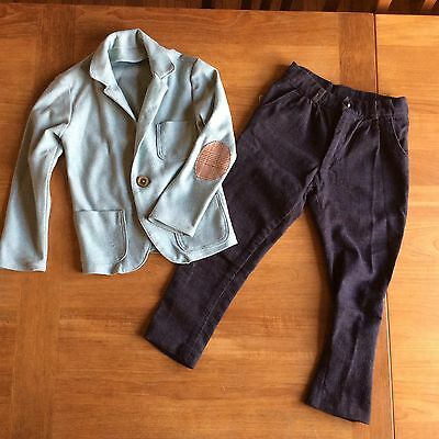 Hand Made Boys Outfit Mint Green Blazer And Skinny Pants Size 6-7