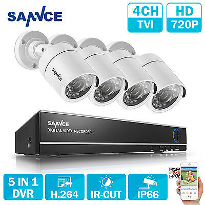 SANNCE Outdoor 1080N 4CH 5in1 DVR 1500TVL Home TVI Security Camera System IR-CUT