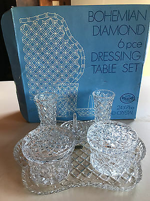 Bohemia Crystal 6 Piece Dressing Table Set. As New in original Box.