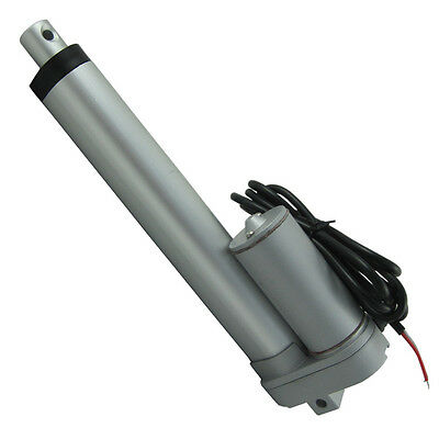 Silver 6 Inch 12V DC Stroke 225lb Max Lift Output  Heavy Duty Lineaer Actuator