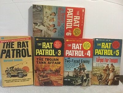 Lot of 5 The Rat Patrol paperback books, based on TV series, #1,3,4,5 and 6.