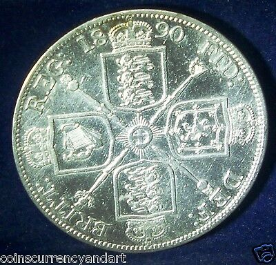 Great Britain Double Florin KM# 763 1890  Arabic 1