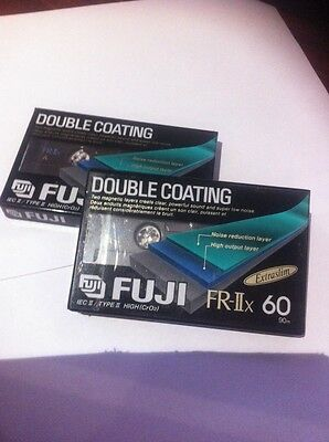 Vintage 2 x Fuji FR-II x 90 Cassette Tapes CrO2 NEW Factory Sealed Double Coat