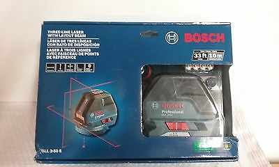 Bosch GLL 3-50 S Three-Line Laser 33ft Range.