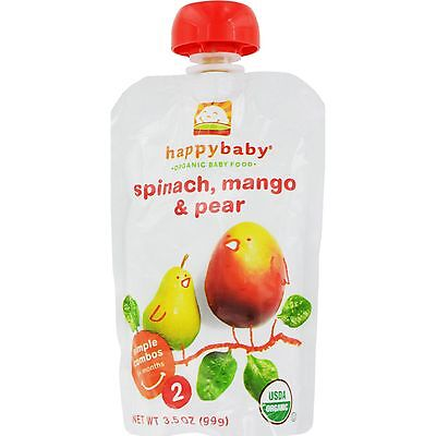 Happy Baby Organic Baby Food Stage 2 Spinach Mango and Pear - 3.5 oz - Case of 1