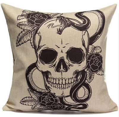 Halloween Rose Skull Home Decor Sofa Cotton Linen Cushion Cover Pillowcase 18""