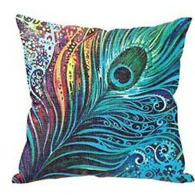 Vintage Blue Linen Peacock Feathers Cushion Cover Pillowcase Sofa 45cm/18""