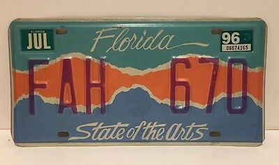 FLORIDA•License Plate•STATE OF THE ARTS•Limited Edition•# FAH 670•Tag•1996•