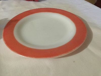 """4 Vintage Pyrex 10"""" Dinner Plates  White With Pink Border."""