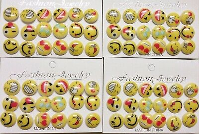 5af4f8195 Lot Of 36 Pairs Earrings Emoji Smiley Face Round Button Stud Yellow Party  Favors