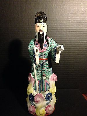 "Chinese Porcelain Handwork Carving Figure Statue 10"" Tall"