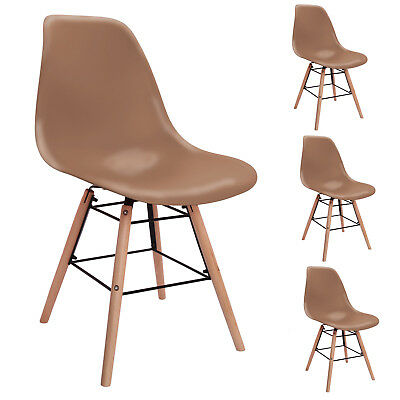 4x White Retro Lounge Wooden Chair Plastic Dining Room Set Table Chairs Office