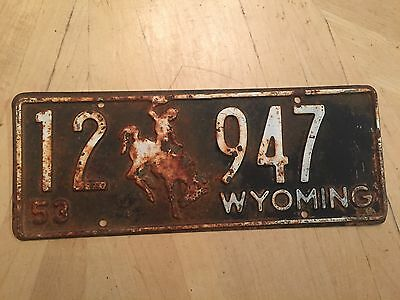 "1953 Wyoming Passenger License Plate "" 12  947 "" Wy 53  Bucking Bronco"