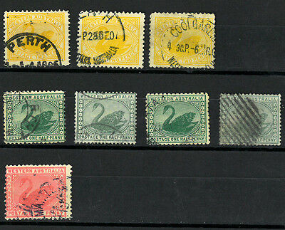 WESTERN AUSTRALIA  SWAN  Old stamp collection, set of  8stamps VF used
