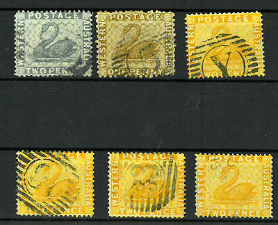 WESTERN AUSTRALIA  SWAN  Old stamp collection, set of 6 stamps VF used