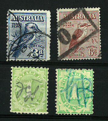 SOUTH  AUSTRALIA  Old stamp  set of 4 stamps VF used BIRDS POSTAGE DUE NUMERAL