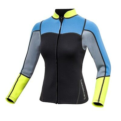 Womens 2mm Neoprene Long Sleeve Jacket Front Zipper Wetsuit Top Surfing