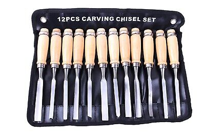 12PCS Wood Carving Hand Chisel carver/woodworking/lathe gougesTool Set Kit DIY