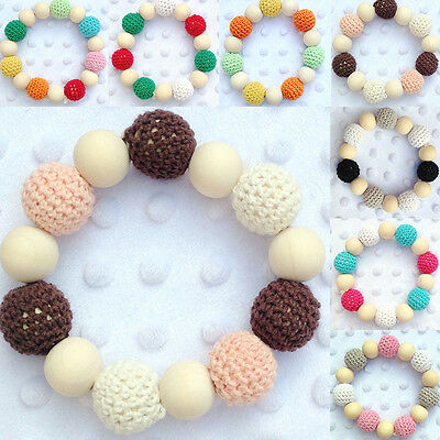 New Baby Natural Wood Beads Teethers Crochet Teething Ring Nursing Toys