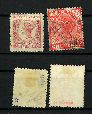 NEW ZEALAND , SOUTH  AUSTRALIA  Old stamps VICTORIA   VF used   SIGNED