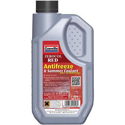Granville Zerocol Red Antifreeze & Coolant Concentrated 1L Car Motorcycle