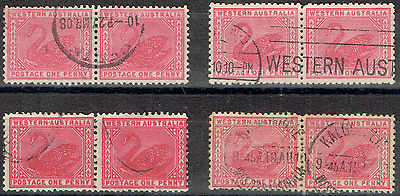 "WESTERN AUSTRALIA, 4 Joined pairs, 1d. Red Swan, Incl ""Kalgoorlie"" cancel, 3441"